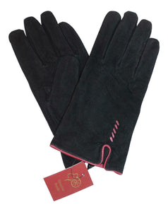 Eastern Counties British Suede Fleece Lined Ladies Gloves in Black & Cherry Red