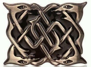 Antique Chrome Serpent Kilt Belt Buckle Black Enamelled Background