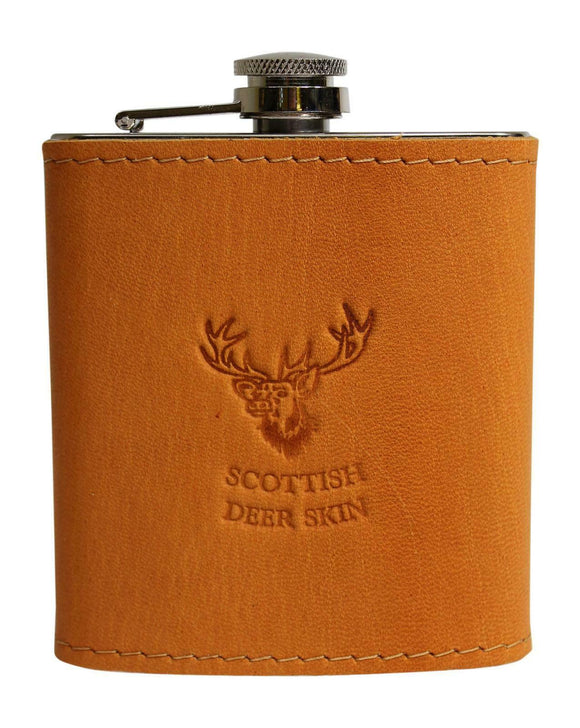 Stylish 100% Tan Camel Brown Authentic Leather Ladies Gents 6oz Hipflask