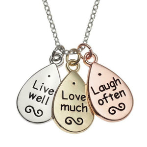 "Tri Colour ""Live well, Love much, Laugh often"" Message Cluster Necklace Pendant"