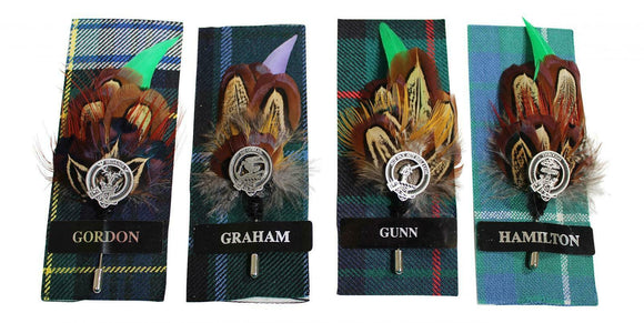 Ronnie Hek Feather Clan Crest Kilt Stick Pin - Gordon Graham Gunn Hamilton
