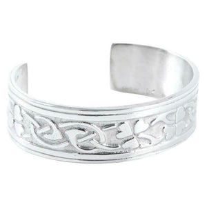 Stunning Ladies Polished Pewter Clover Leaf Adjustable Bangle Bracelet