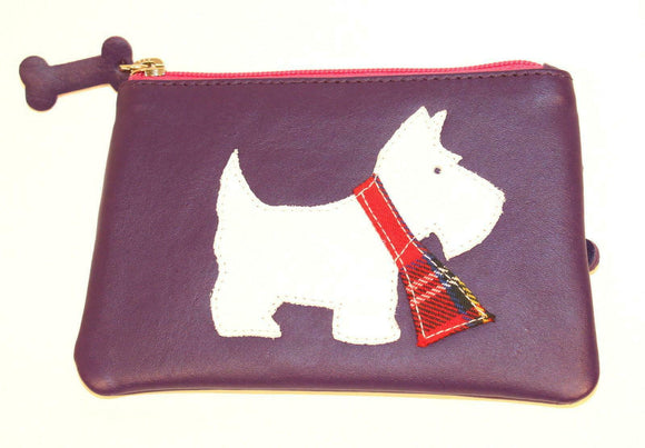 Ladies Purple Leather Zip Top Coin Pocket Purse with Scottie Dog Applique Mala