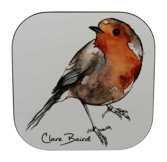 Clare Baird Scottish Robin Red Breast Bird Coaster Table Mat