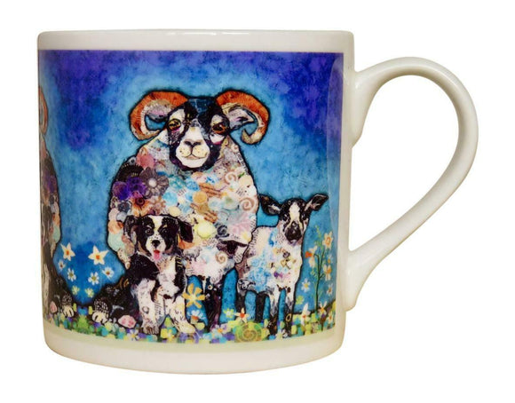Dawn Maciocia 'Ram A Lamb Ding Dong' Sheep Ram Collie Dog Puppy Fine Bone China