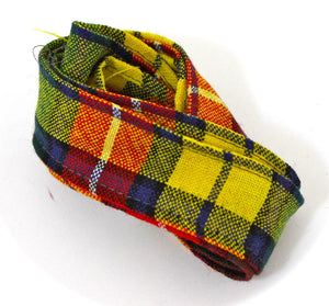 100 % Pure Wool Traditional Tartan Ribbon - 1 Inch x 54 Inches - Buchanan