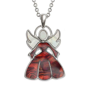 Tide Jewellery Inlaid Paua Shell Red Christmas Angel Necklace