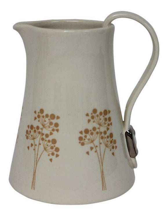 Dimpled Heart Ceramic Yellow Flower Jug With Strap & Buckle Handle Detail