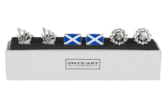 Onyx Art Set Of 3 Scotland Flag Scottish Thistle Bagpipe Mens T-bar Cufflinks