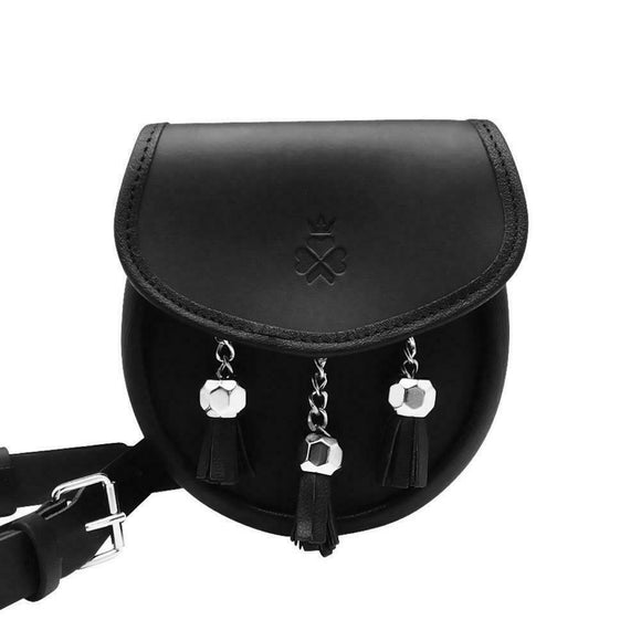 Nixey 1834 Classic Collection Black 100% Leather Sporran Handbag Purse