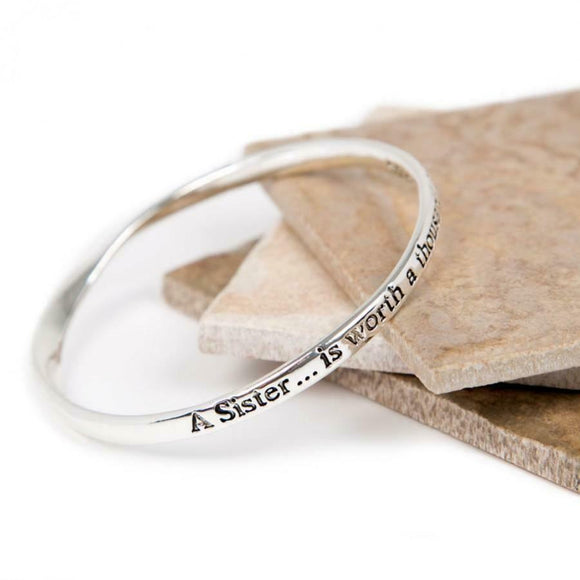 Love The Links A Sister Is Worth 1000 Friends Quote Message Bangle Bracelet