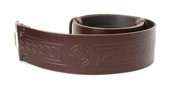 Celtic Embossed 100% Leather Quality Buckle Kilt Belt Brown 28