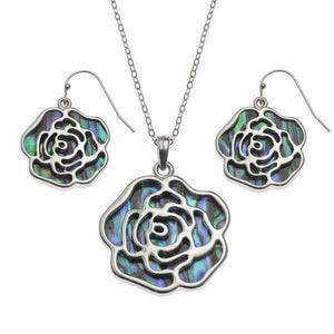 Tide Jewellery Inlaid Paua Shell Rose Necklace & Dangly Earring Set