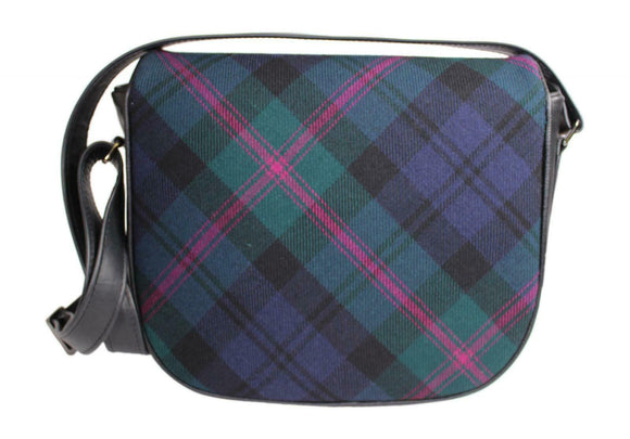 Tasteful Tartans Baird Modern Tartan & Black Leather Shoulder Bag Purse