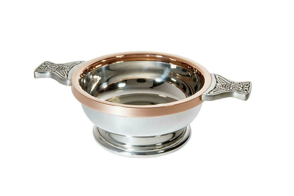 Wentworth Pewter Celtic Copper Rim Toasting Celebration Quaich