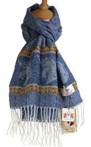 Calzeat of Scotland Sky Blue Celtic Unicorn Jacquard Wool Scarf