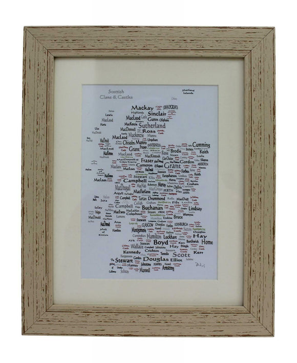 Art By The Loch Handmade Scottish Clans & Castles World Map Word Art Picture