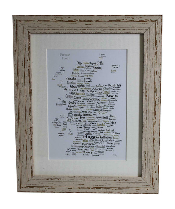 Art By The Loch Handmade Scottish Food Word Art Picture