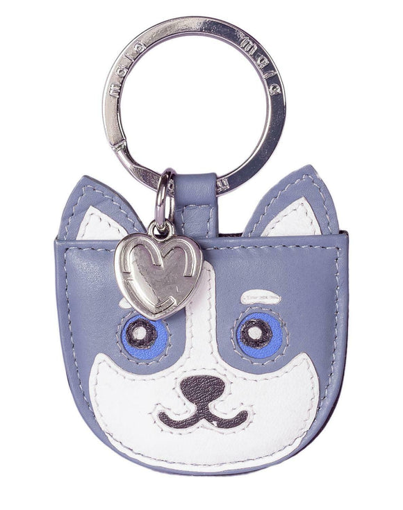 Mala Leather Hugo The Grey Husky Dog Puppy Key Fob Keyring