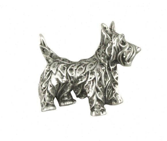 Stunning Pewter Terrier Dog Lapel Pin Badge