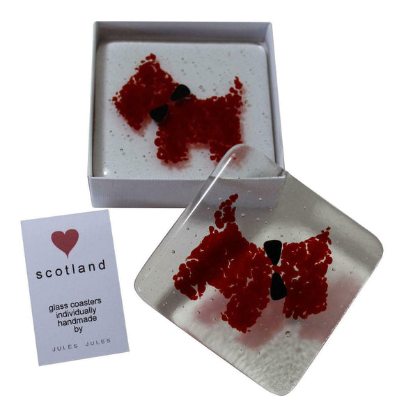 Pair of Handcrafted Fused Glass Coasters Featuring A Red Scottie Dog