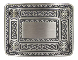 Traditional Dress Celtic Knot Kilt Belt Waistplate Buckle - Brushed Antique