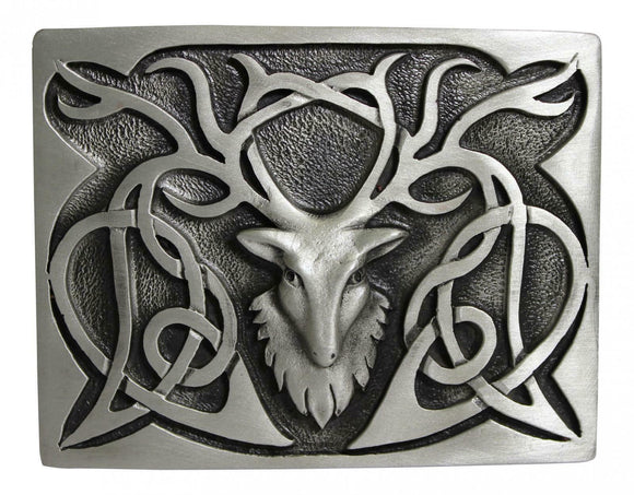 Stunning Scottish Stag Pewter Kilt Trews Belt Buckle Chrome or Antique Finish