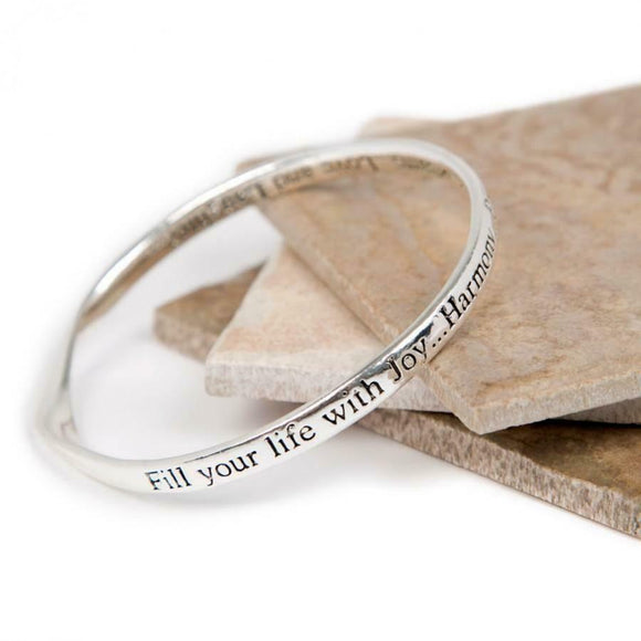 Love The Links Silver Joy Harmony Peace Quote Message Bangle Bracelet
