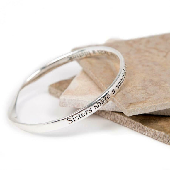 Love The Links Silver Sisters Bond Quote Message Bangle Bracelet
