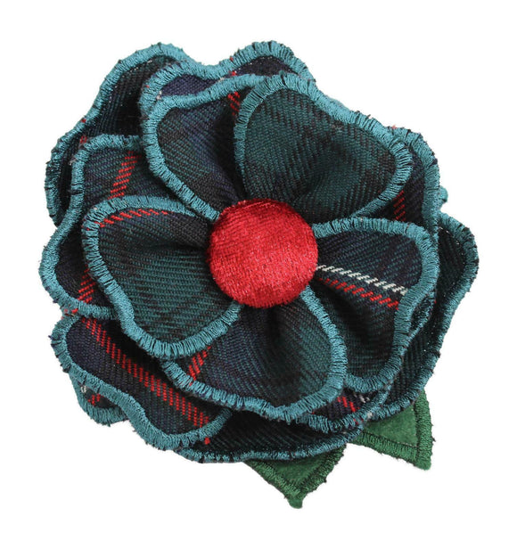 Stunning Designer Scottish National Green Tartan Camellia Corsage