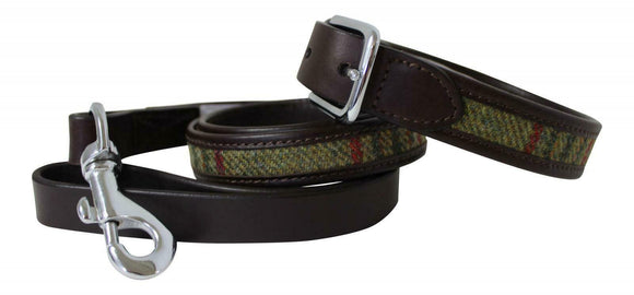 Leather Guild Design Studio Pell Mell Dog Collar & Lead Set in Green Tweed