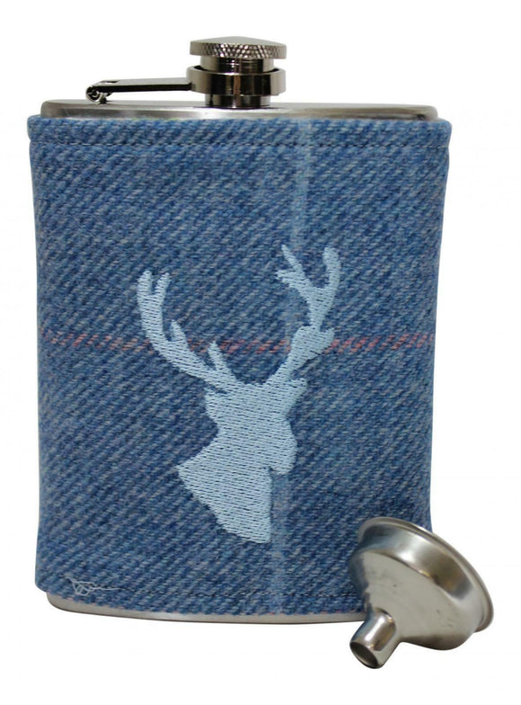 Stylish Authentic Harris Tweed Ladies Gents 6oz Hipflask In Jay Blue Tweed