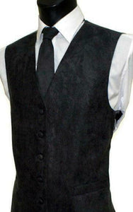 Suede Effect Gents Waistcoat Vest with Optional Matching Neck Tie - Black