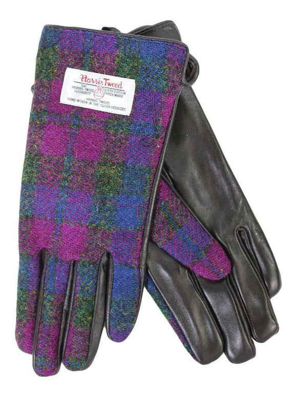 Ladies 100% Harris Tweed Heather Purple & Blue Check & Black Leather Gloves
