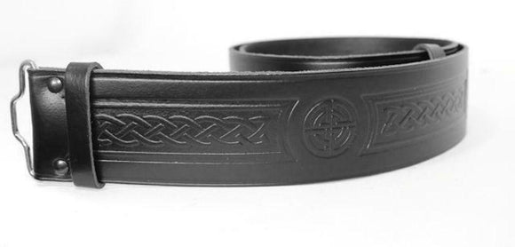 Celtic Embossed 100% Leather Quality Buckle Kilt Belt Black 28