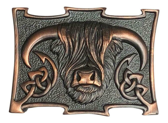 GM Belts Scottish Highland Cow Coo Chocolate Bronze Kilt Belt Buckle