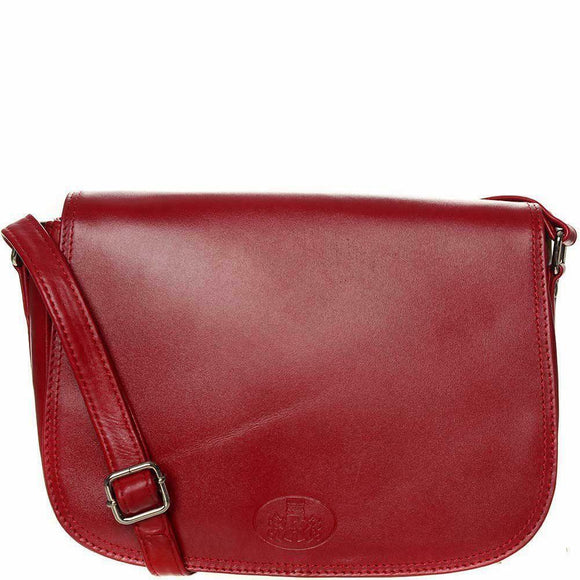 Rowallan Iceland Red Leather Rounded Full Flap Crossbody Handbag