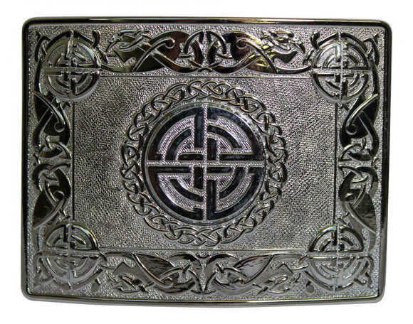 Polished Chrome Zoomorphic Celtic Knot Kilt Trews Belt Buckle - Made in the UK