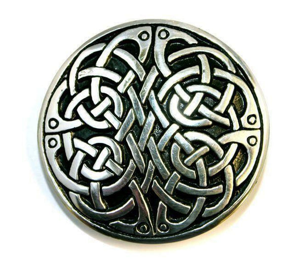 Round Celtic Knot Interchangeable Snap Belt Buckle