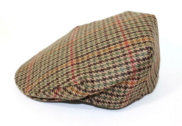 Stanbury British Tweed Traditional Teflon Coated Brown Green Check Wool Flat Cap