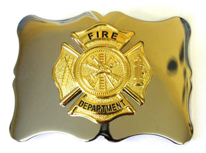 Polished Chrome US Fire Dept Scalloped Edge with Gilted Badge Kilt Belt Buckle