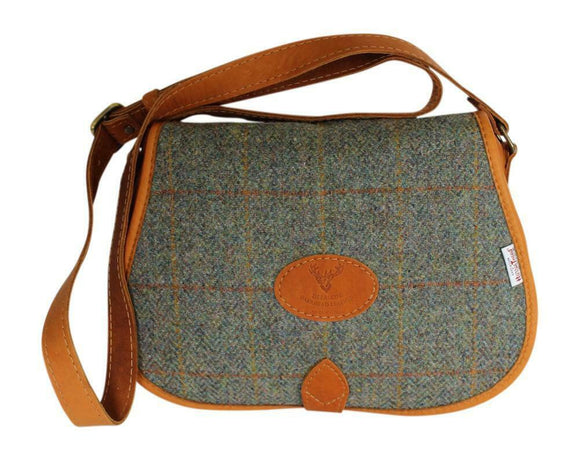 Scottish Deerskin Tan Leather Green Check Harris Tweed Cross Body Saddle Bag