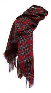 100% Pure Lambswool Authentic Traditional Scottish Tartan Stole - Royal Stewart
