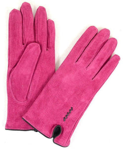Eastern Counties British Suede Fleece Lined Ladies Gloves in Fuchsia Pink