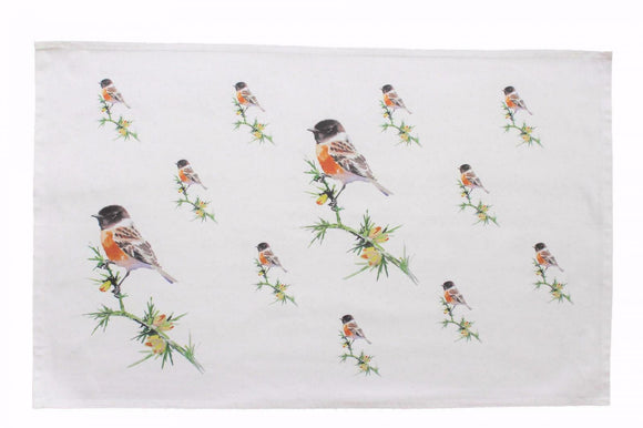 Orkney Storehouse Stonechat Bird Kitchen Tea Towel