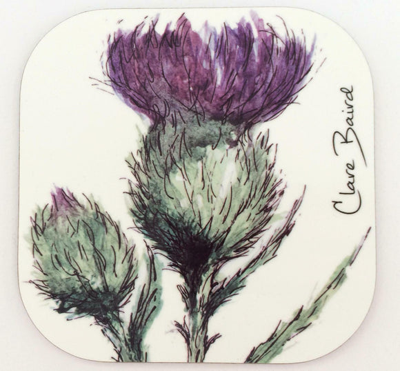 Clare Baird Scottish Thistle Flower Of Scotland Coaster Table Mat