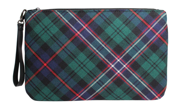 Tasteful Tartans Scottish National Tartan & Black Leather Clutch Bag Purse