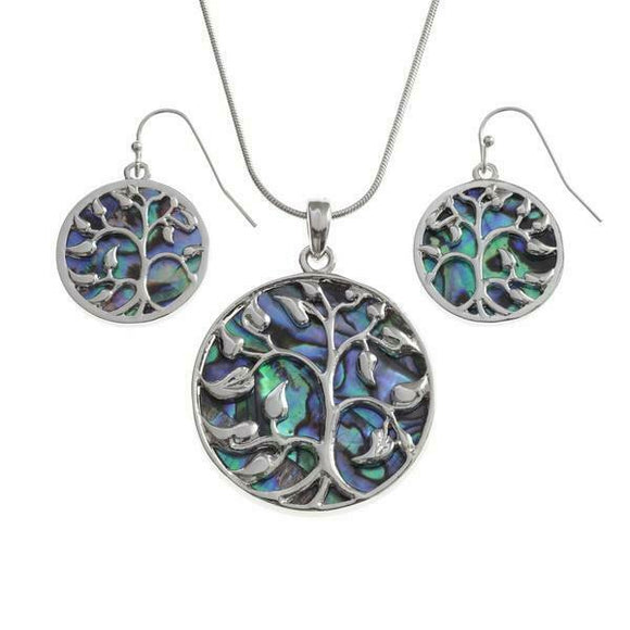 Tide Jewellery Inlaid Paua Shell Tree Of Life Pendant & Dangly Earring Set