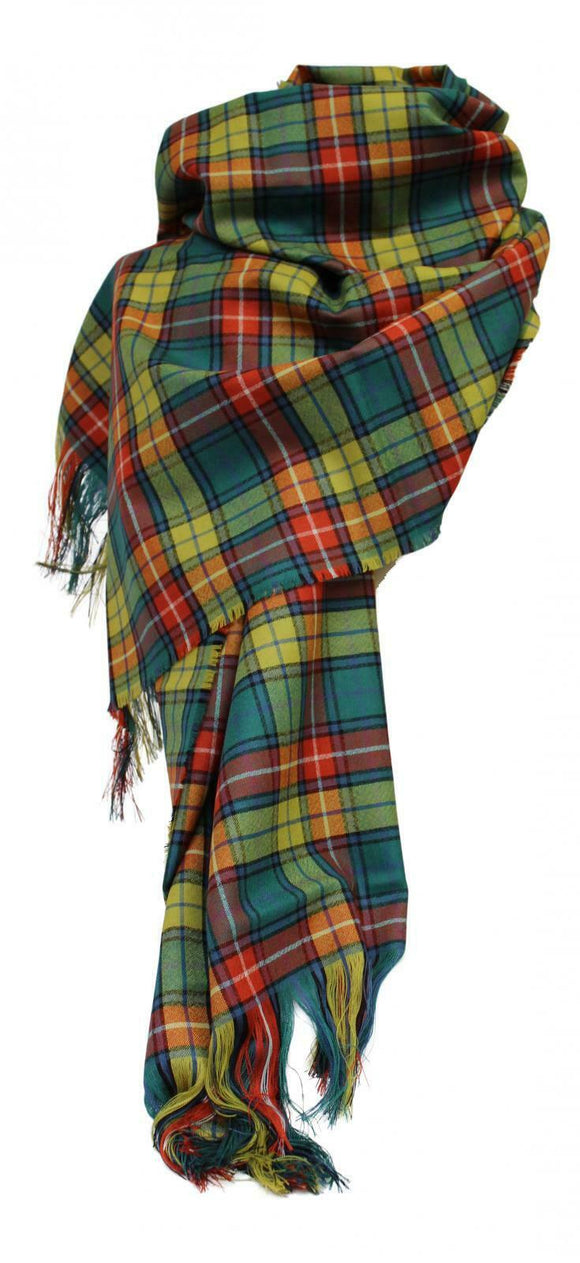 100% Pure Lambswool Traditional Scottish Tartan Stole - Buchanan Antique