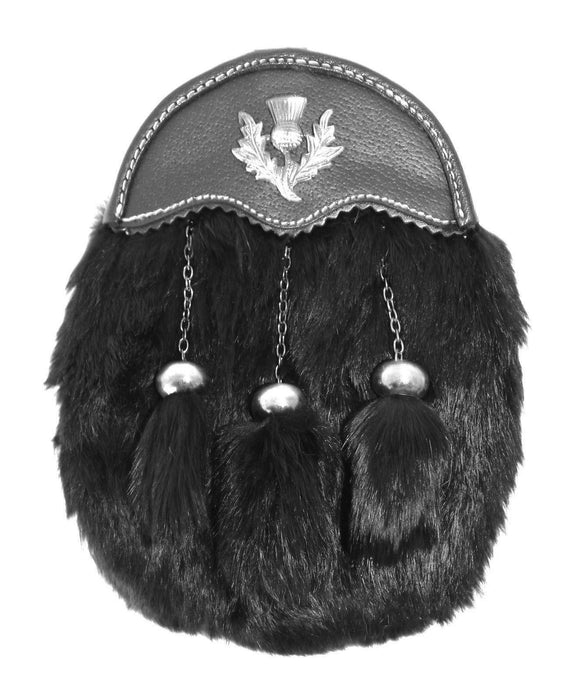 Dress Sporran Black Rabbit Fur with Leather Cantle and Antique Thistle Badge